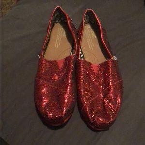 ec11b0190a8 Women s Red Sparkle Toms on Poshmark